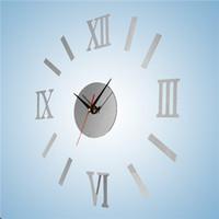 venta caliente de bricolaje acrlico romanos relojes de pared digitales arte moderno de nueva sala
