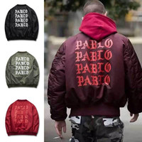 Wholesale Pocket Pads - Mens Winter Jackets And Coats Padded Pablo Jacket Kanye High Street Ma1 Bomber Jacket Windbreaker