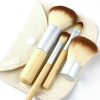 Wholesale makeup brushes synthetic natural - New 4PCS Natural Bamboo Handle Makeup Brushes Set Cosmetics Tools Kit Powder Blush Brushes with bag