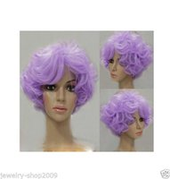 Wholesale Light Purple Curly Cosplay Wig - Free Shipping New High Quality Fashion Picture full lace wigs>>New wig Cosplay Short Violet Light Purple Curly Wig
