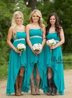 Wholesale Ho Wedding Dresses - High Low Turquoise Beach Bridesmaid Dresses 2016 Strapless A Line Sash Ho-Lo Maid Of Honor Country Wedding Guest Party Dress Cheap Custom