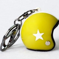 Wholesale Star Key Fob - 2pcs lot Mini Sport Motorcycle Helmet Pendant Keychain For Women Men Unisex Metal Key Fob Chain Keyring Jewelry Gifts