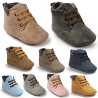 Wholesale Wholesale Baby Boots - Baby Soft Sole lace up ankle boots Infants pu heudauo Casual Shoes Baby First Walker warm Shoes Toddler Footwear Infant Winter Boots