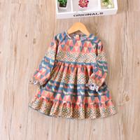 Wholesale Wholesale Kids Fashion Korea - Everweekend Kids Classic Ruffles Autumn Dress Candy Yellow and Red Color Vintage Korea Dress Western Fashion Baby Dress