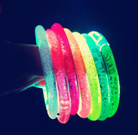 Wholesale Colorful Flashing Bracelet Led - OPP glow bracelets Flash is small adorn article yakeli glowing bracelets LED colorful glow bracelets small toys