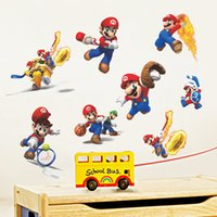 Wholesale Mario Bros Stickers - Free shipping New Fashion Super Mario Bros Kids Removable Wall Sticker Decals Nursery Home Decor Vinyl