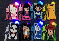 Wholesale Wholesale 3d Cell Phone Cases - LED Universal Cell Phone Cases Pikachu Pokonyan 3D Cartoon Silicon Bumper Case 4.5-7 inch for iphone7 7plus 6S plus Samsung LG HUAWEI HTC
