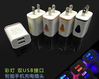 Wholesale Chinese Led Wall Lights - Light up LED dual USB ports home adapter AC us eu plug wall charger for iphone 6 samsung mobile
