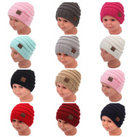 Hot 2018 Fashion Child CC Beanie Criança Girl Boy Lã Castigo de malha Caps Inverno Mantenha Warm Crochet Hats Baby Kids Outdoor Sport Headwear A201