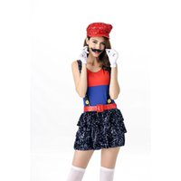 Wholesale Sexy Costumes For Role Play - New Arrival Sexy Super Mario Costume Blue Sequins Straps Dress 5 Pieces Mario Halloween Role Play Costume for Ladies A416990A