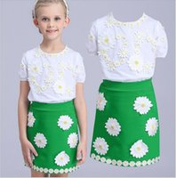 Wholesale Girls Double Breasted Suit Kids - Big Girls Summer Clothes 2016 Children Cotton White Short Sleeve Flower Embroidery T-shirt+Green Skirt 2pcs Sets Kids Outfits Cute Girl Suit