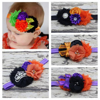 Wholesale Rosette Shabby Chic Flowers - 2016 baby halloween headbands kids shabby chic flowers hair accessories baby girls chiffon flower crown hairbands rosette headband wholesale