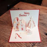 Cute Christmas Tree Greeting Cards 3D Paper Castle Snowman Postcard Blessing Festive Party Decor Supplies