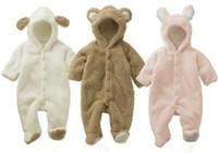 Wholesale Sheep Hoodie - Newborn Baby cute coral fleece animal Hooded wadding Romper Infants cartoon Sheep Rabbit Bear cosplay soft hoodie rompers 3colors for 6-24m