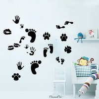 Wholesale Print Poster Design - The Print of Lip Hand Foot Paw Wall Stickers Black Hand Calligraphy Wall Mural Poster Kids Room Babies Room Nursery Wall Decals Home Decor