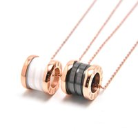 Wholesale Porcelain Letters - Top Quality Roman Numeral 18K Rose Gold Titanium Steel Necklace For Women White Black Ceramic Pendant Fashion Jewelry Christmas Gift