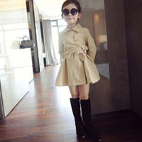 Wholesale Trenchcoat Dress - Girls Tops Kids Trench Coats Girl Dress Breasted Coat 2016 Autumn Coat Trenchcoat Child Clothes Kids Clothing Children Outwear Ciao C27460
