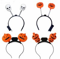 Cute LED Light Up Hairband Headband Pumpkin Skull Flashing Party Gift Halloween Decoração Atacado