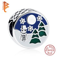 Wholesale Snowman Gifts Make - BELAWANG for Christmas Gift Charm 925 Sterling Silver Charm Mixed Enamel Snowman Loose Beads Fit Pandora Charm Bracelets DIY Jewelry Making