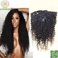 Wholesale Afro Kinky Curly Clip In Hair Extension Peruvian Human Hair Extension African American Clip On Hair Extension set
