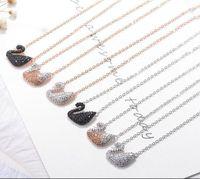 Wholesale Swan Necklace Jewelry - LUXURY JEWELRY for Women Fashion Swan Crystal Rhinestone Silver Chain Pendant Necklace Jewelry 6 Color luxury necklaces jewelry