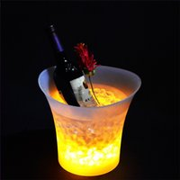 Wholesale Wine Beer Buckets Wholesale - dhl Shipping 5L Volume plastic led ice bucket color changing,5L bars nightclubs LED light up ice bucket Champagne wine beer bucket bars