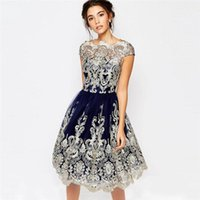 Wholesale Women S Princess Ball Gowns - 2017 Vintage Embroidery Lace Dress Women Sexy Slim Gauze Elegant Retro Femme Vestidos Ball Gown Party high quality princess Vestidos KD-012