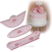 Wholesale Silicone Fondant Shoe Mould - Wholesale- Baby Shoe Shape Plastic Fondant Mold Baking Tools for DIY Cake Sugar Craft Gum Paste Mould Baby's Birthday Cake Decorating Tools