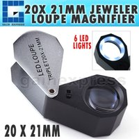 GM20 20X Magnifier a lente d'ingrandimento pieghevole + 6 LED light + 21mm Triplet Optical Glass