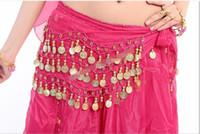 Wholesale Gold Metal Belly Dance - 15% off! 3 Rows 98 Gold Women Gold Metal Chiffon Coins Waist Chain Belly Dance Hip Scarf Belt Skirt Chain Halloween Costume Accessory 10pcs