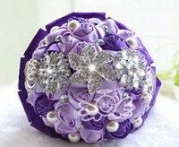 Romantic Purple Wedding bridal Bulk Flowers Fleurs en soie Peals Crystal Rhinestone Rose Wedding Supplies Bride Holding Brooch Bouquet 2016