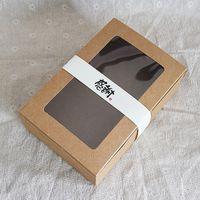 caixas de bolinhas janela venda por atacado-20 PCS 18x12x5 cm Caixa De Papel Kraft Marrom Com Transparente PVC Caixa De Presente Da Janela cajas de caixa de Embalagem De Biscoito Macaron Caixa De Bolo De Casamento