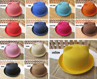 Wholesale Straw Hat Wholesalers - 2016 new Korean version of parenting Adult children Orecchiette straw hat straw hat visor cap tide cat ears 13colors choose freely ship