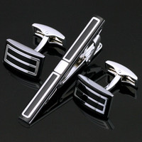 Wholesale Shirt Tie Cufflink Gift Set - Tie Clip & Cufflinks Set Men French Black Tie Clips Cuff Links Man Fashion Shirt Clip Cuff Link Gift Z-011