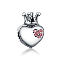 Wholesale Wholesale Chamilia Charms - Love heart crown bead with crystal European spacer charm fit Pandora Chamilia Biagi bracelet Fits Pandora Bracelets Charm Beads