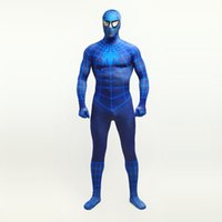 Wholesale custom cosplay for sale for sale - Hot Sale Sexy Blue Lycra Spandex Zentai Bodysuit Superhero Spider man Cosplay Costumes For Halloween