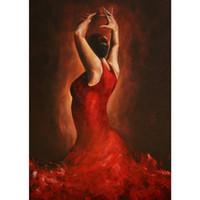 ingrosso pitture a olio di qualità donne-Flamenco Spanish Dancer oil paintings Quadro moderno dipinto a mano Donna in abito rosso Alta qualità