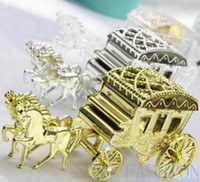 Wholesale Colored Wedding Favor Boxes - Free Shipping 24pcs Colored Plastic Royal Carriage Favor Boxes Wedding Candy Box Sweet Chocolates Box