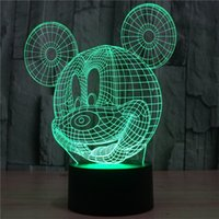 Wholesale Micky Mouse Party - 2017 micky mouse 3D Optical Lamp Night Light 9 LEDs Night Light DC 5V Colorful 3D Lamp
