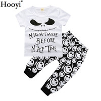 Wholesale Ghost Suit - Hooyi Halloween Fashion Children Clothes Suits Nightmare Before Nap Time Ghost Face Novelty Baby Boy T-Shirt Pant Sets 100% Cotton Outfits