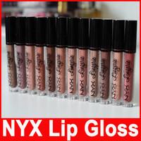 nyx lip lingerie toptan satış-NYX dudak lingerie dudak kremi Dudak parlatıcısı Ruj vintage uzun ömürlü 4 ML Profesyonel Makyaj 12 renkler