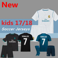 4b08bf4ac 2017 Real Madrid RONALDO kids soccer jerseys full sets with socks boys  child kits 16 17 18 Home White Third JAMES BALE football shirts ...