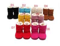 Wholesale Cheap Baby Winter Boots - Boys and girls tassel snow boots 2016 baby warm winter boots 0-18 months cheap kids soft bottom toddler shoes in stock B3