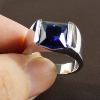 Wholesale Cheap Blue Engagement Rings - Men's 925 Silver Sqaure Blue Sapphire Gem Stone Solitaire Wedding Ring Eternity Jewelry for Men Cheap jewelry moissanite