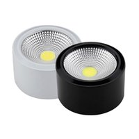 Venta al por mayor- [DBF] Dimmable COB lámpara de techo LED Downlight 3W 5W 7W 10W AC 220V negro / blanco Superficie del cuerpo montado LED Downlight Iluminación de interior