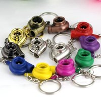 Wholesale Wholesale Tin Model Cars - Turbo Keychain Auto Parts Model Spinning New Charming Turbocharger Key Chain Ring Keyring Key ring Keyfob Keyrings 17 colors in stock