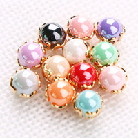 Wholesale Art Pearl Nail Decoration - F408 Nail Art New Styles Pearl Alloy Decorations 12 Colors Pearls With Alloy Base Japanese Style DIY Manicure Wholesale
