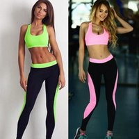 Wholesale Crop Top Jogging Suit - Fashion Color block Jogger Tracksuits Skinny Stretchy Gym Sportswear Crop Tank Top & Leggings Fitness Jogging Suits