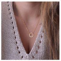 gold infinity anhänger halskette großhandel-Kostenloser Versand Kreis Anhänger Halskette Ewigkeit Halskette Karma Unendlichkeit Gold minimalistischen Schmuck zierlich für immer Kreis Halskette Geschenk