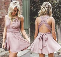 Wholesale Plunge Mini Dress - Sexy Lace Blush Pink 2017 Homecoming Dresses Plunging V Neck Cirss Corss Back Short Party Gowns Cocktail Dress Custom Made